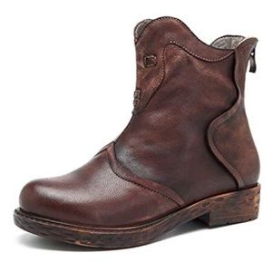 NWOB Socofy Leather Zip Ankle Boots